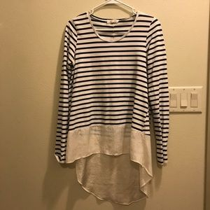 Small Anthropologie Striped High-Low Long Sleeve